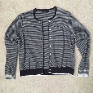 Lands End striped sweater cardigan